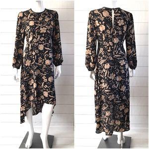 Who What Wear Black Floral Hi Lo Midi Maxi Dress